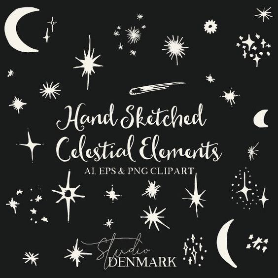 Hand Sketched Celestial Clipart.