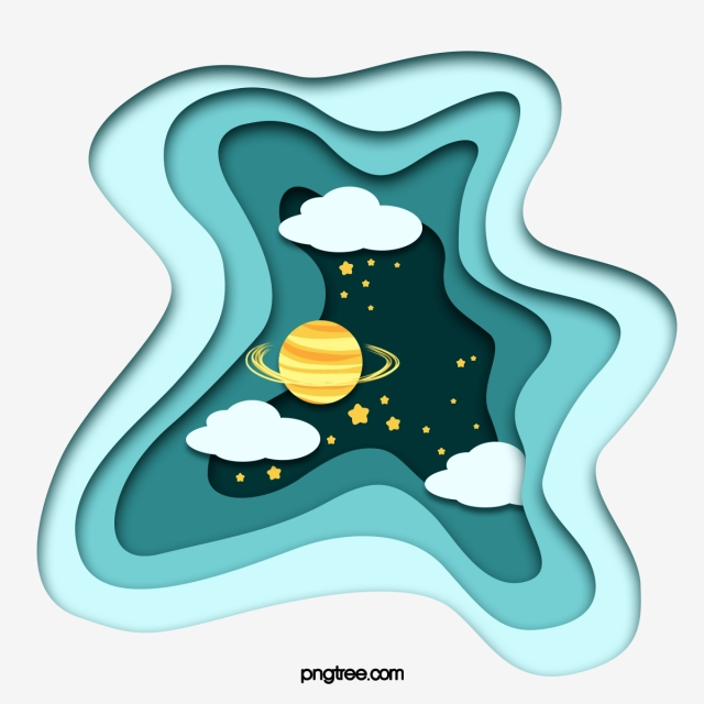 Green Gradient Paper Cut Style Celestial Planet Element, Night Sky.
