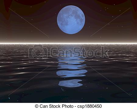 Stock Illustration of Surreal Moon and Water.