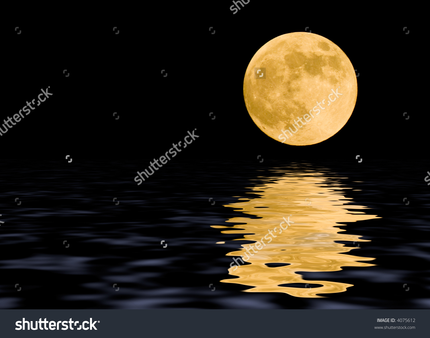Moon At Midnight With Some Reflections In The Water Stock Photo.