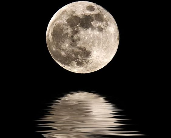 Moon Reflecting Off Water.