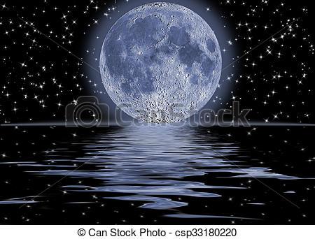Clip Art of Dark night full moon over water.