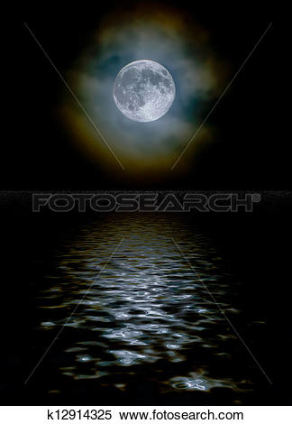 Stock Image of Harvest moon through light clouds with a water.