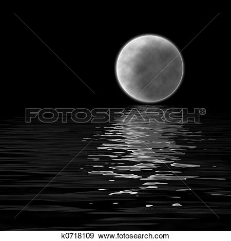 Stock Illustration of moon over water k0718109.
