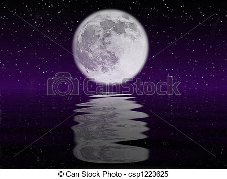 Stock Illustrations of Moon and water.