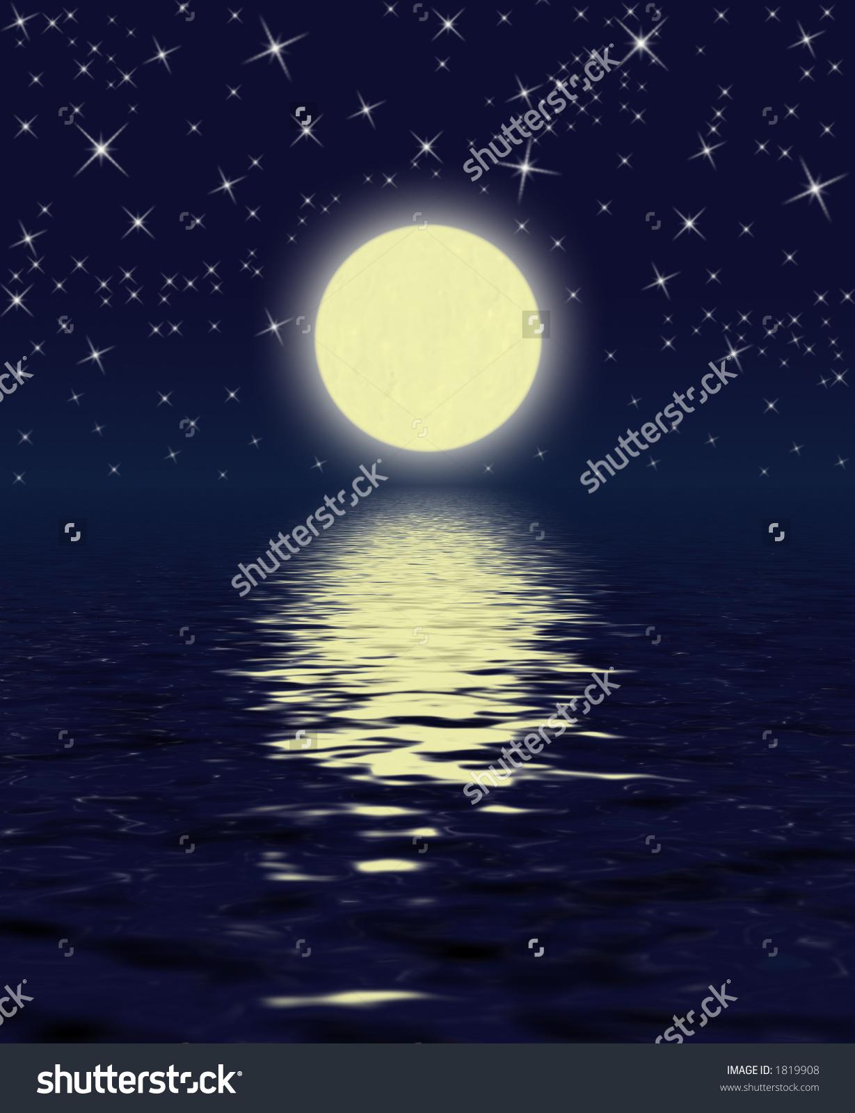 Magic Night Moon Stars Water Stock Illustration 1819908.