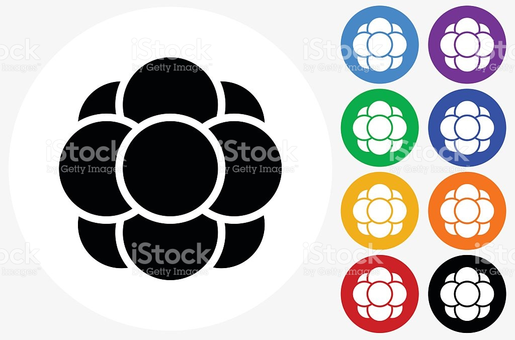 Cell Growth Icon On Flat Color Circle Buttons stock vector art.