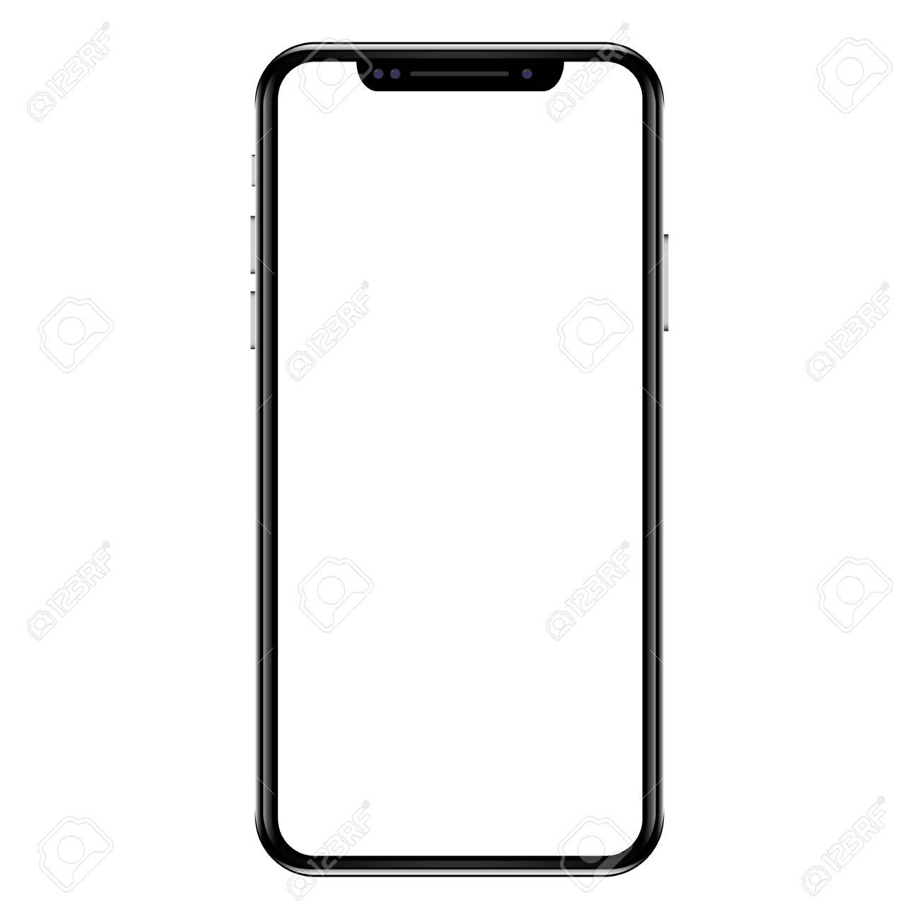 Black smartphone with white screen. Modern white touchscreen...