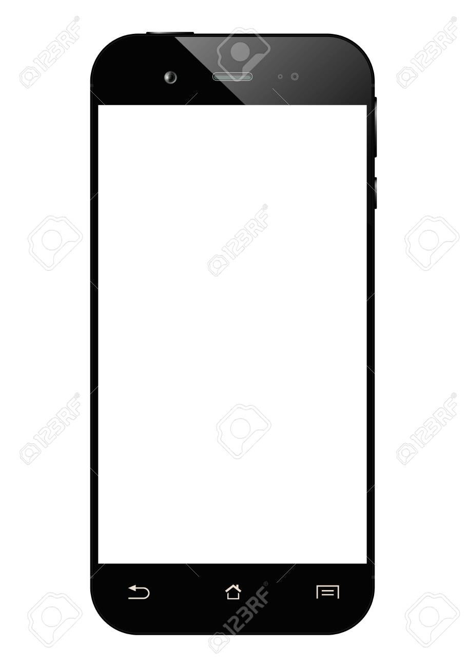 Black smartphone isolated on white background. Mobile phone with...