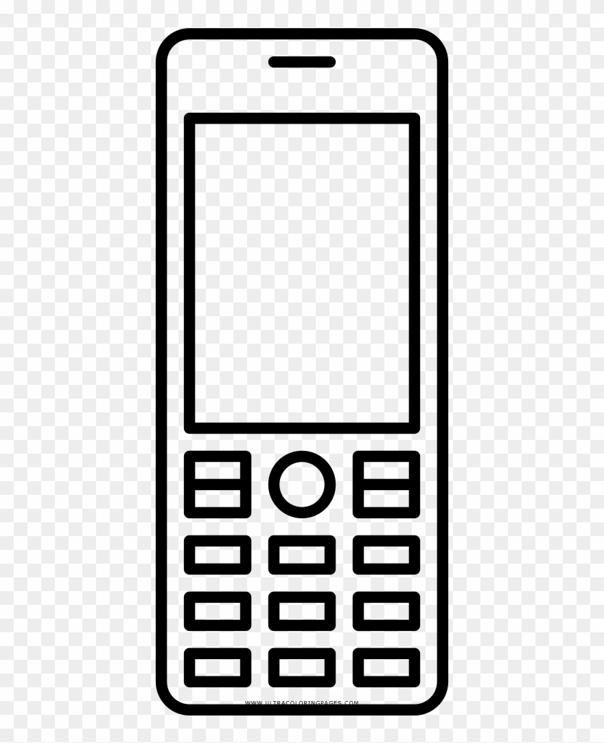 Black And White Stock Cellphone Clipart Coloring Page.