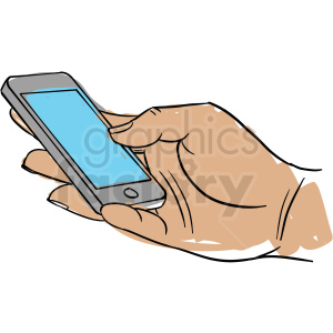 hand holding cell phone clipart. Royalty.