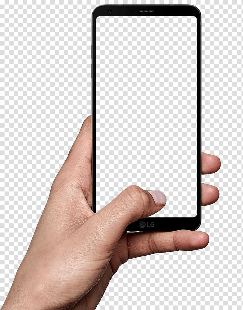 LG G6 iPhone Smartphone Desktop , hand holding a cell phone.