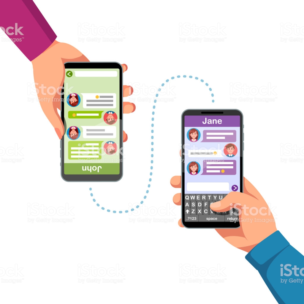 People Hands Holding Phones Sending Text Messages To Each Other.