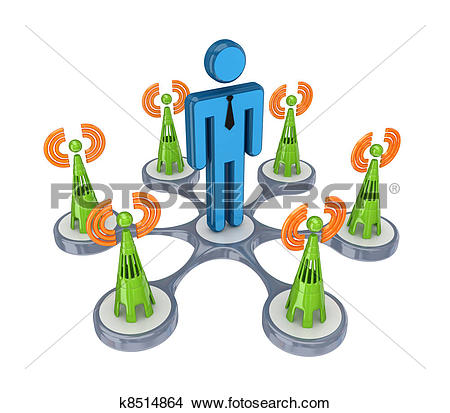 Drawings of Cell towers around 3d small person. k8514864.