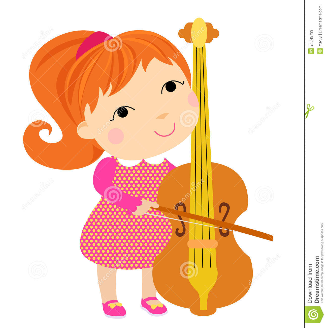 Playing Cello Girl Stock Illustrations.