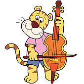 Clipart of Cartoon Tiger Playing a Cello k13259863.