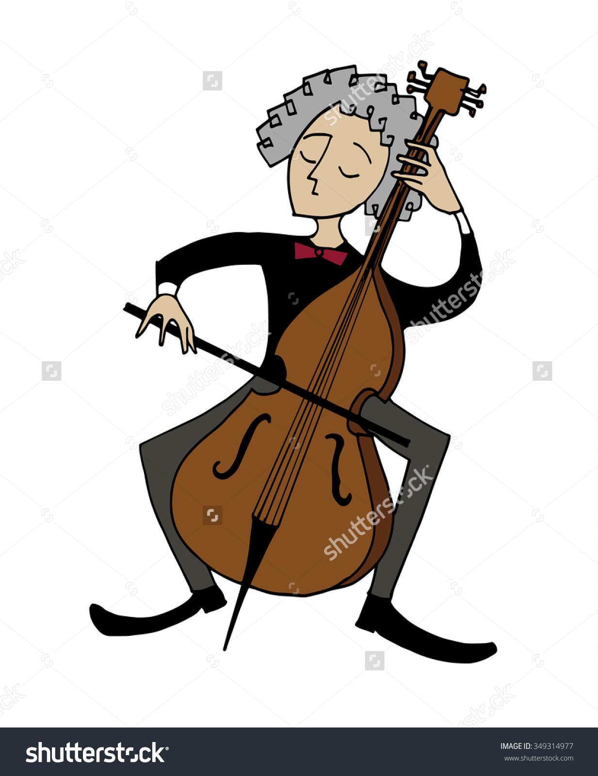 Cartoon Cellist Musician Playing Cello Clipart Stock Vector.