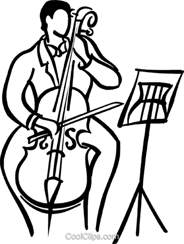 person playing the cello Royalty Free Vector Clip Art illustration.