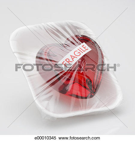 Stock Image of Heart wrapped with cellophane e00010345.