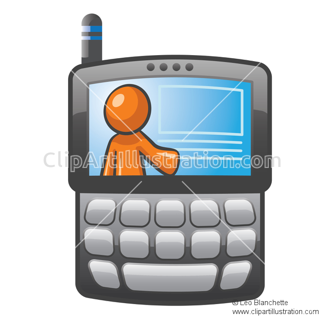ClipArt Illustration of Orange Man PDA Smart Phone Cellular with.