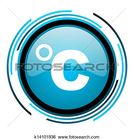 Clip Art of celsius blue circle web glossy icon k13728632.