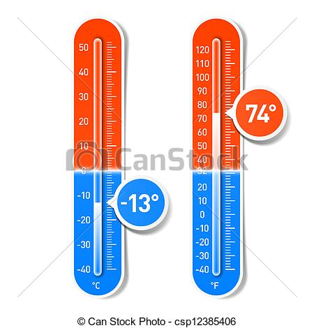 Vector Clipart of Celsius and Fahrenheit thermometers.