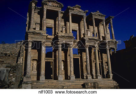 Stock Photo of EPHESUS TURKEY LIBRARY OF CELSUS RUINS nlf1003.