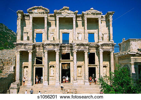 Stock Photography of Tourists at the Library of Celsus, Ephesus.