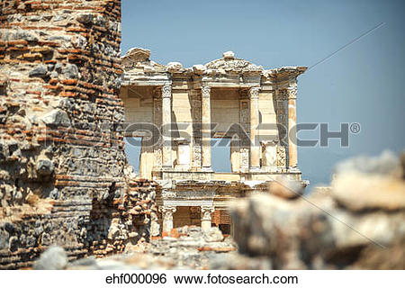 Stock Images of Turkey, Ephesus, Library of Celsus ehf000096.