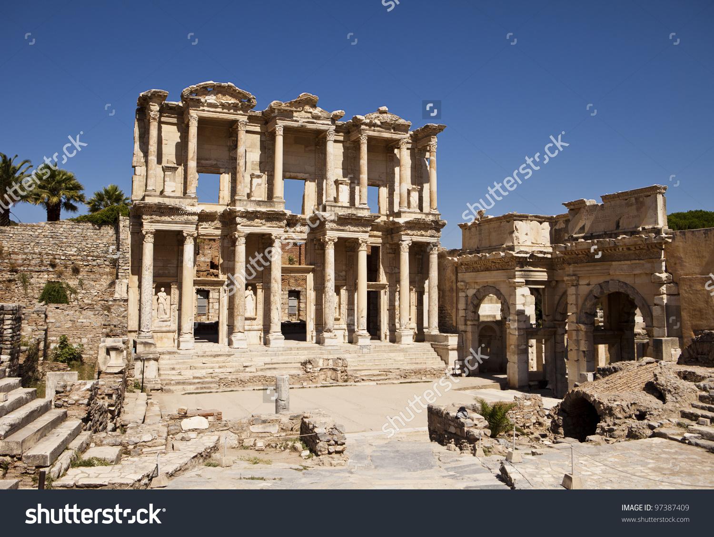 Front Facade Courtyard Library Celsus Ephesus Stock Photo 97387409.