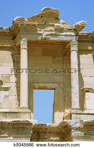 Stock Images of Columns Celsus Library.