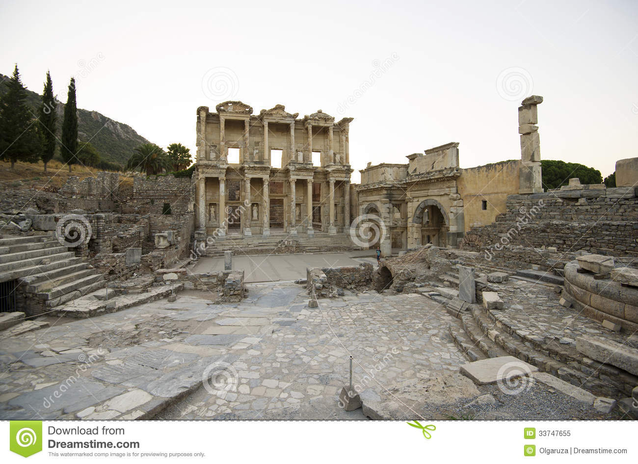 Ephesus. Library Of Celsus, Gate Mazeusa And Mithr Royalty Free.