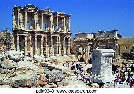 Stock Photography of Epenetus, Celsus Library, library, libraries.