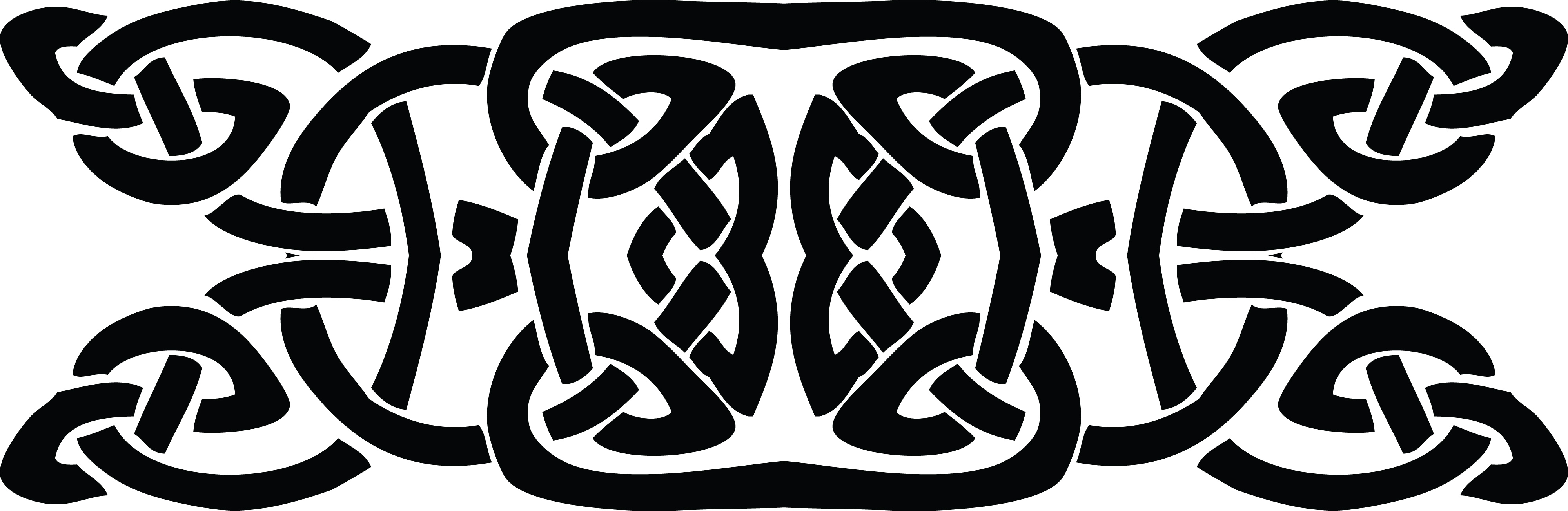 Free Clipart of a black and white celtic knot border.