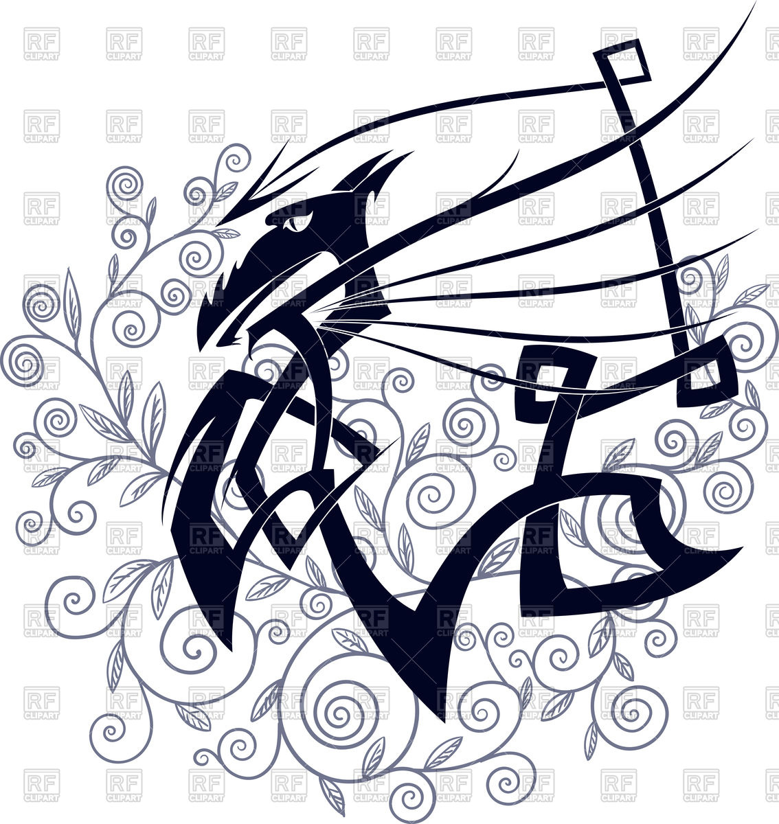 The image in the form of stylized celtic dragon Stock Vector Image.