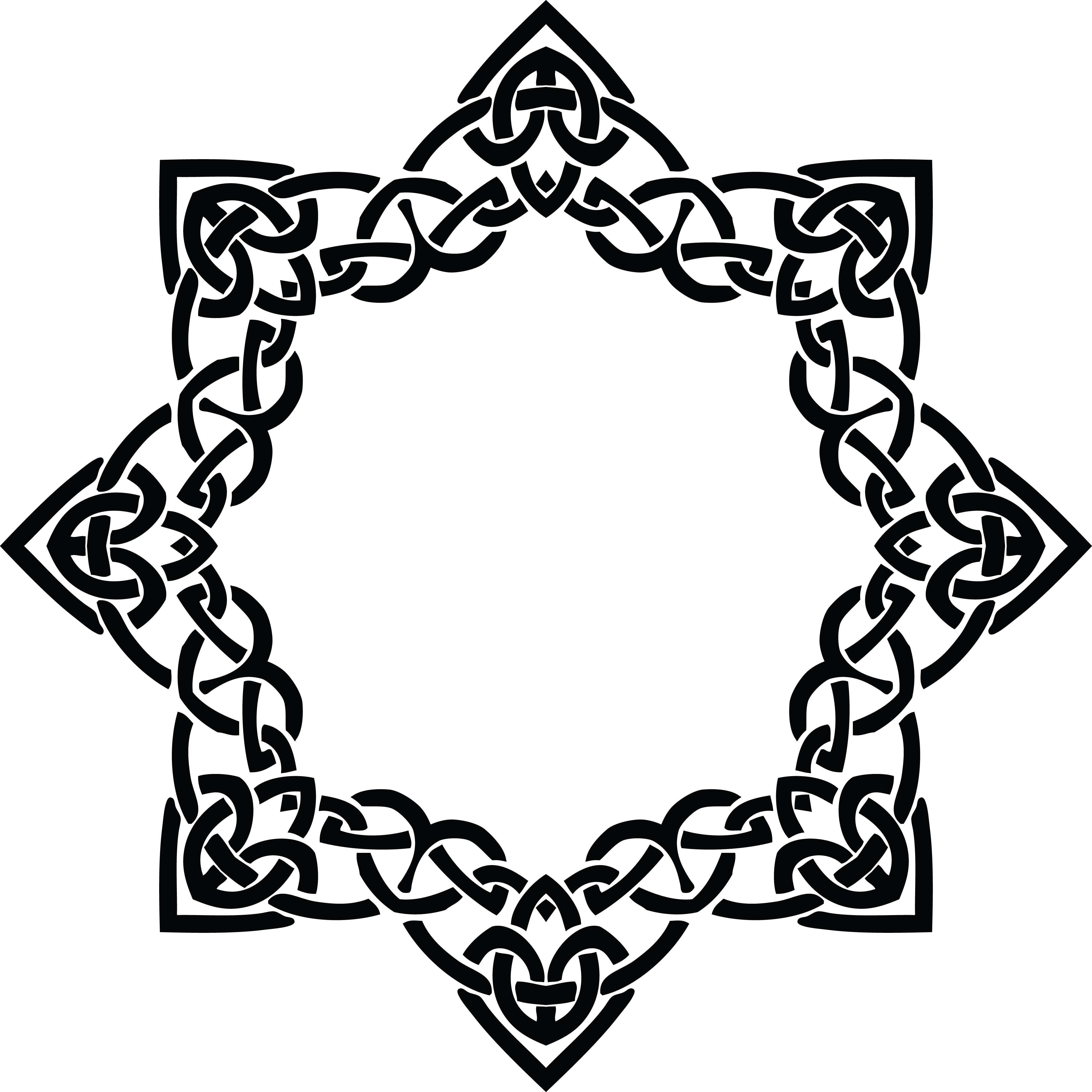 Free Clipart of a celtic frame border design element in black and.