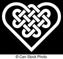 Vector Clipart of Celtic knot hearts.