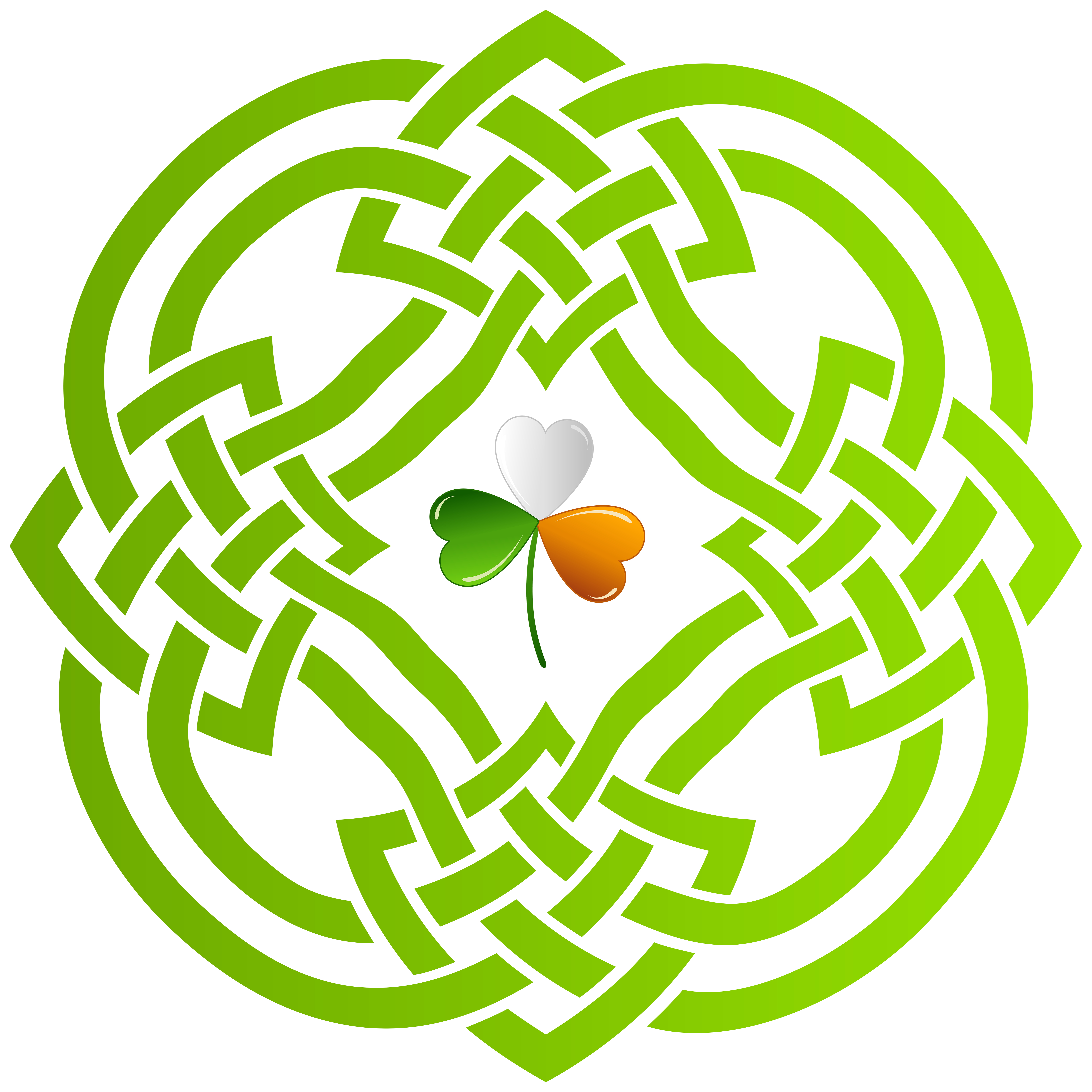 Celtic Knot and Irish Shamrock Transparent PNG Clip Art Image.