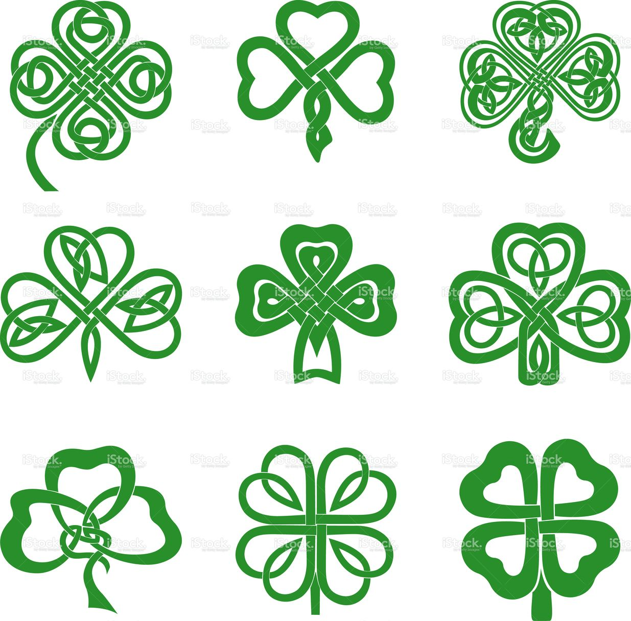 Collection of Celtic Knot Shamrocks including three and four leaf.