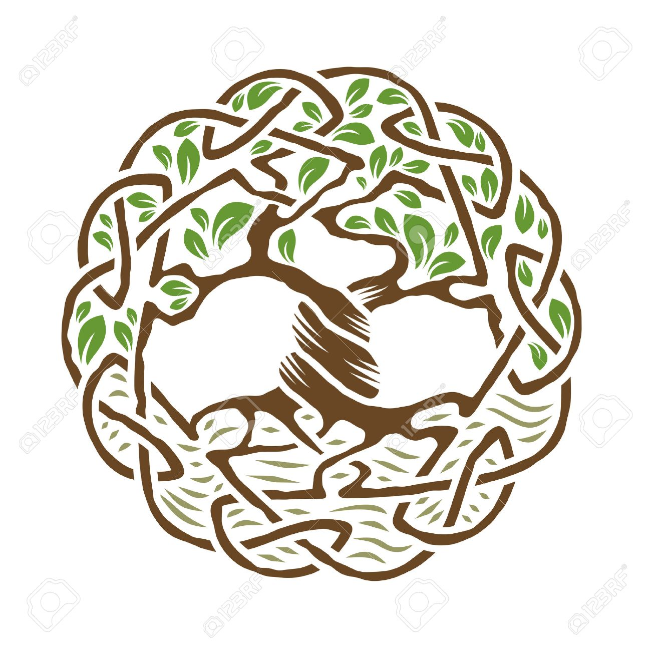 Illustration of celtic tree of life, color version, vector illustration.