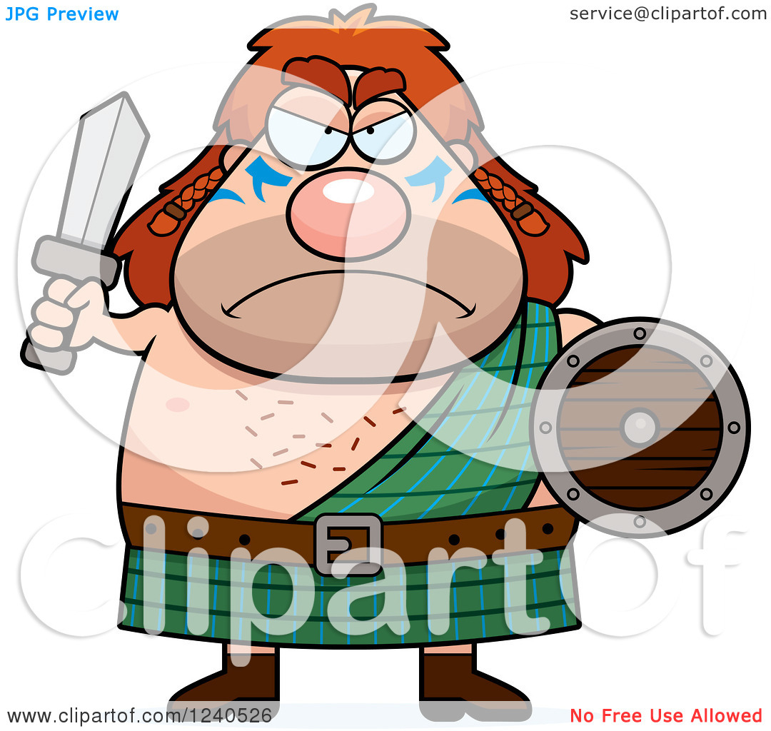 Clipart of a Tough Celt Man Ready for Battle.
