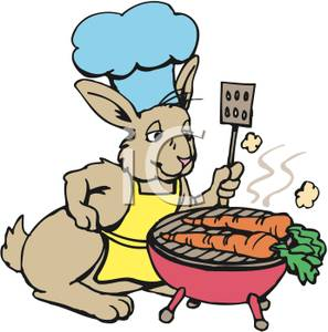Bunny Wearing a Blue Chefs Hat, and Yellow Apron, Grilling Fresh.