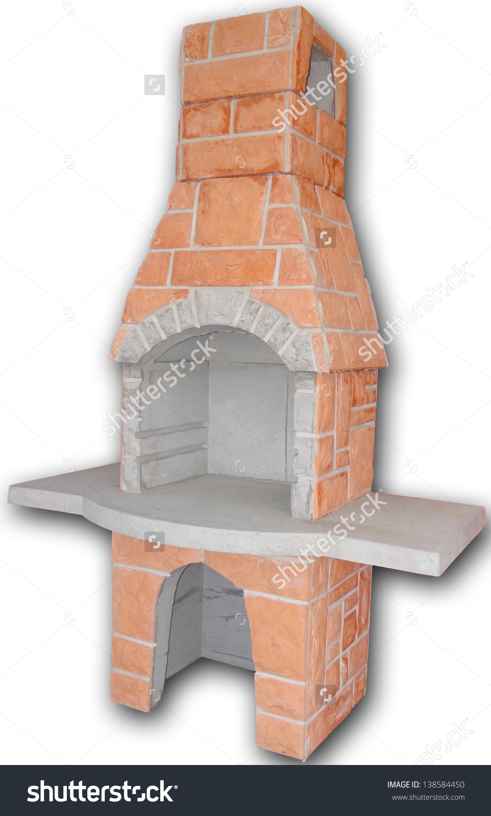 Outdoor Fireplace / Barbecue Grill Made From Bricks And Cement.