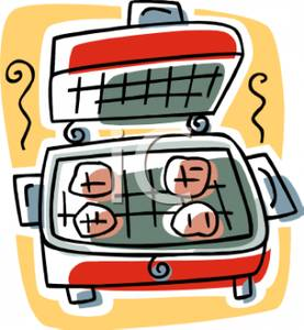 Colorful Cartoon of a Portable Electric Grill.