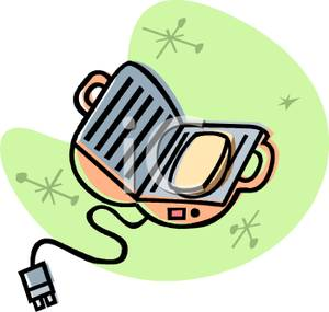 Colorful Cartoon of a Portable Sandwich Grill.
