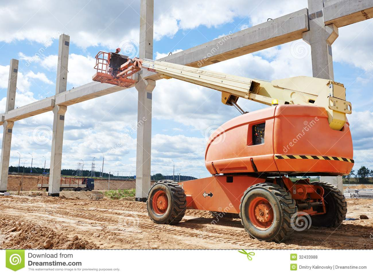 Builder Worker Stop Up Concrete Pole Royalty Free Stock Photos.