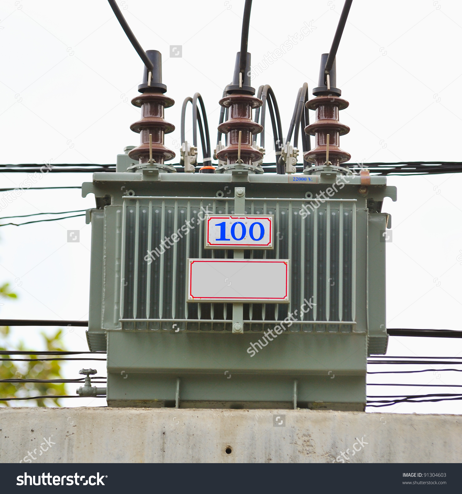 Electric Transformer On Some Power Concrete Stock Photo 91304603.