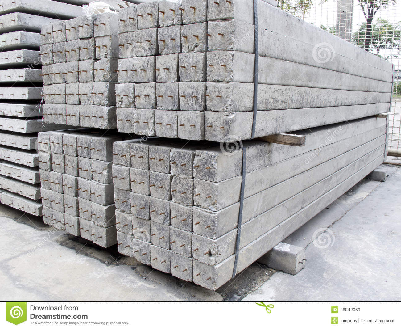 Concrete Pole Pile On Ground Royalty Free Stock Images.