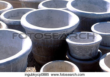 Stock Image of High angle view of cement flower pots ingubkycp0885.