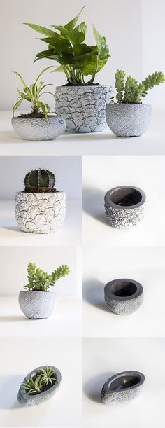 DIY Marbled Concrete Planters.